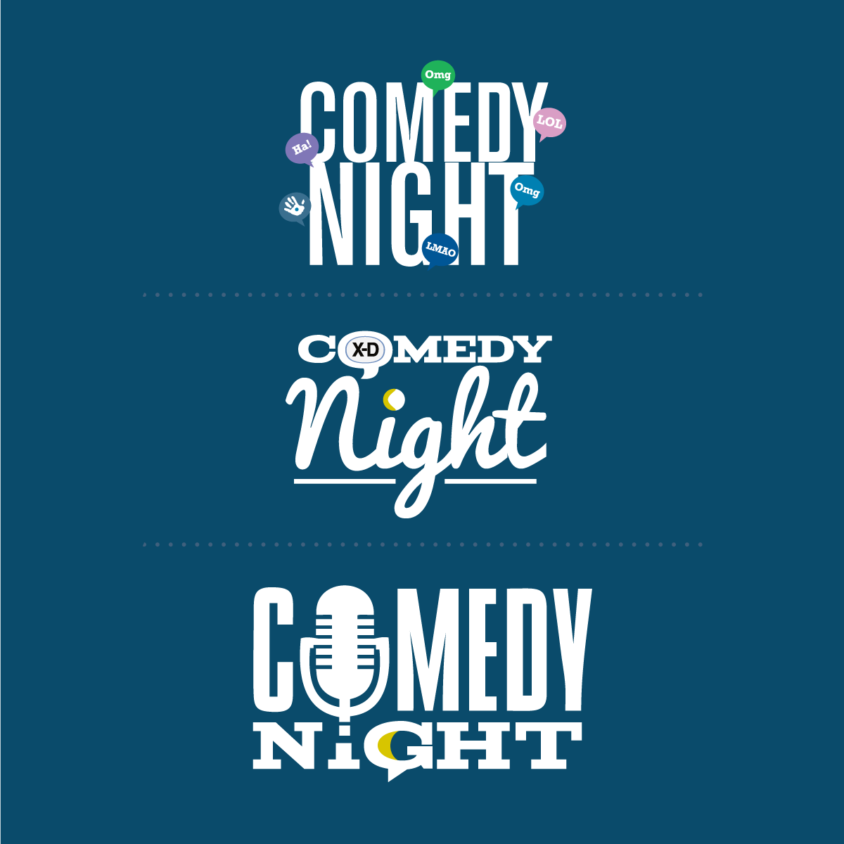 comedy night typographical wordmarks