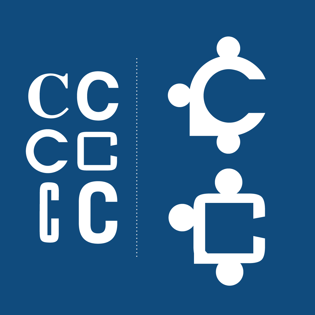 puzzle and letter C graphic development